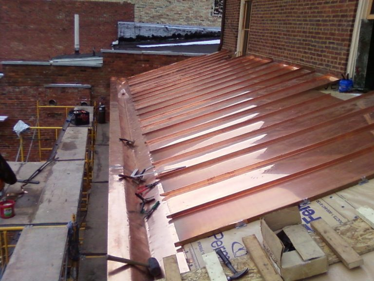 Hand Bent Standing Seam Copper - Historical Building Restoration