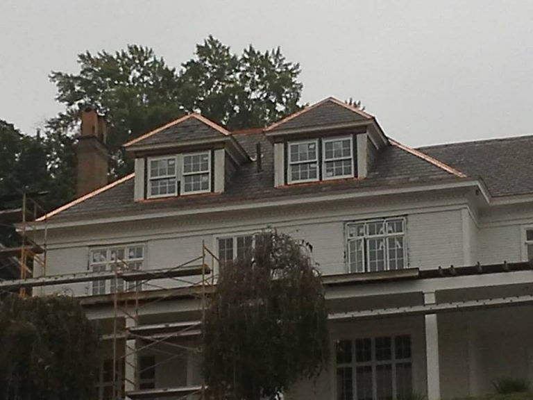 Slate Re-roofing job with Copper Ridge Roll - CA Smith House Chester WV